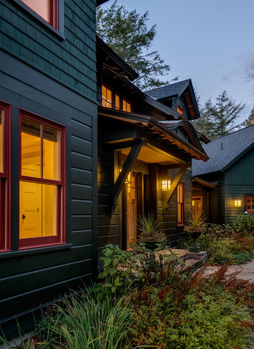 Rustic home with Nighttime Lighting