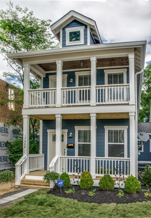 Blue Clapboard House with Two Story Porch