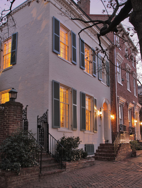 Traditional Southern Row House at Night
