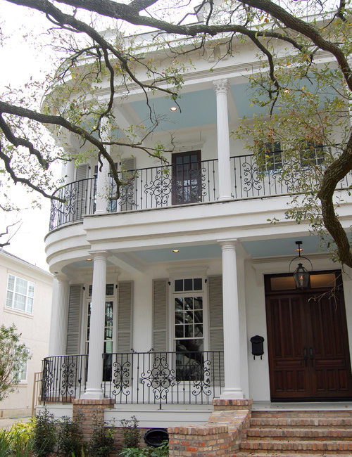 Two-Story Victorian Porch with Blue Ceiling