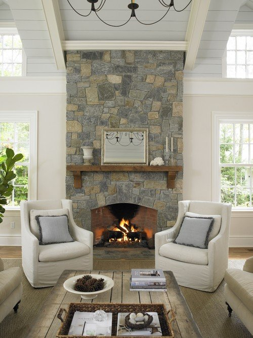 Neutral Farmhouse Style Living Room with Stone Fireplace