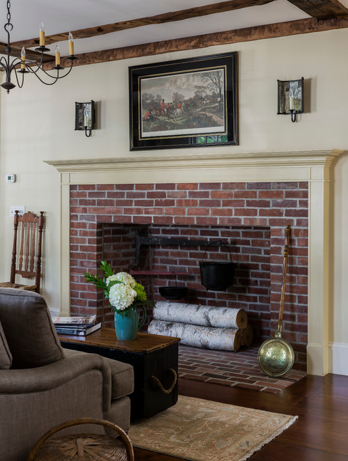 Traditional Country Style Brick and Painted Wood Fireplace