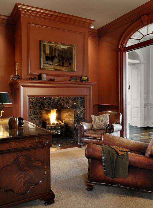 Traditional Red Living Room with Fireplace