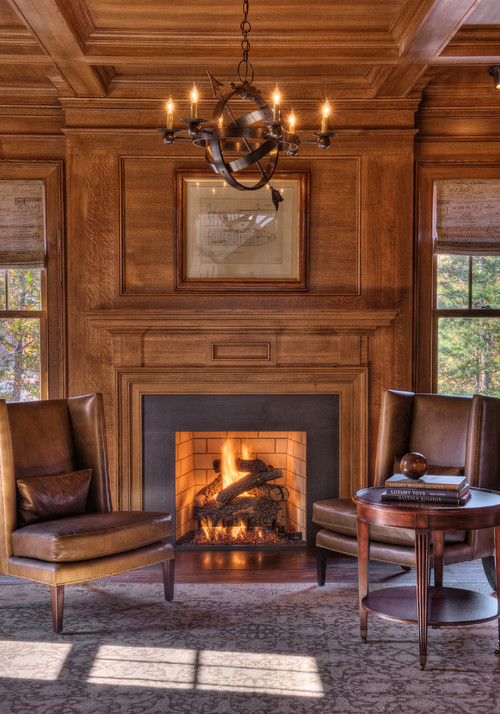 Rich Wood Fireplace Wall