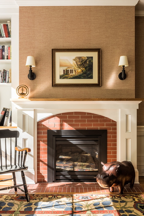 Neutral Traditional Fireplace in Home Office