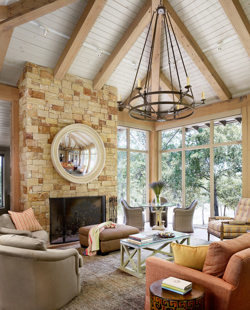 Stone Fireplace in Living Room with Vaulted Ceiling