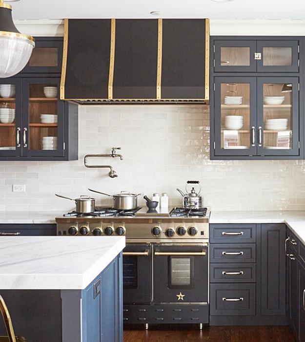 Small Dark Gray and White City Kitchen