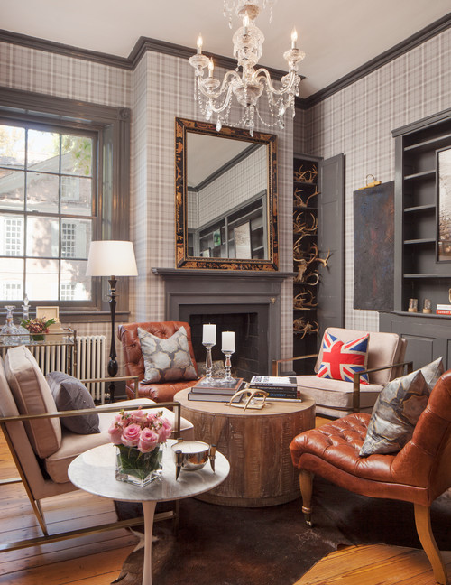 Eclectic English Gray Living Room with Fireplace