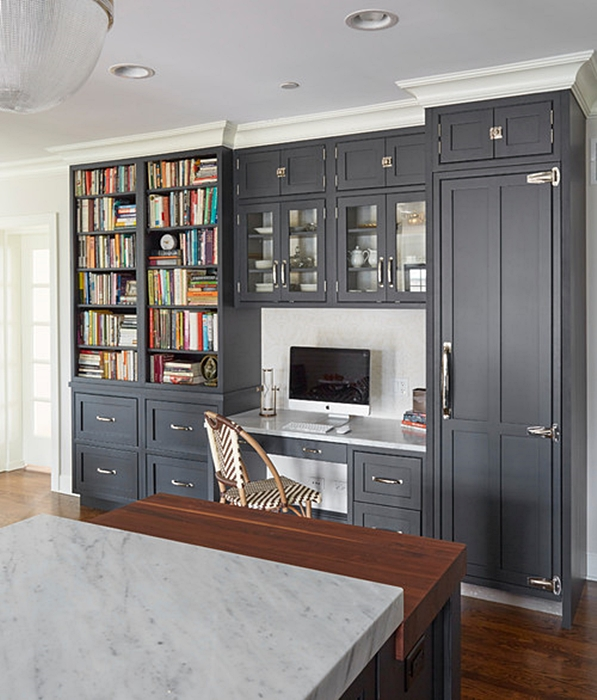 Custom Office Area with Dark Gray Cabinetry in Small City Kitchen