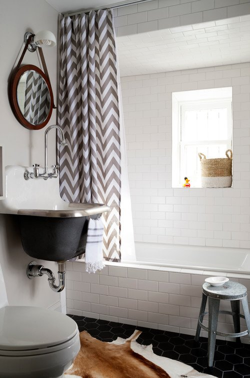 Black and White Bathroom with Metal Sink