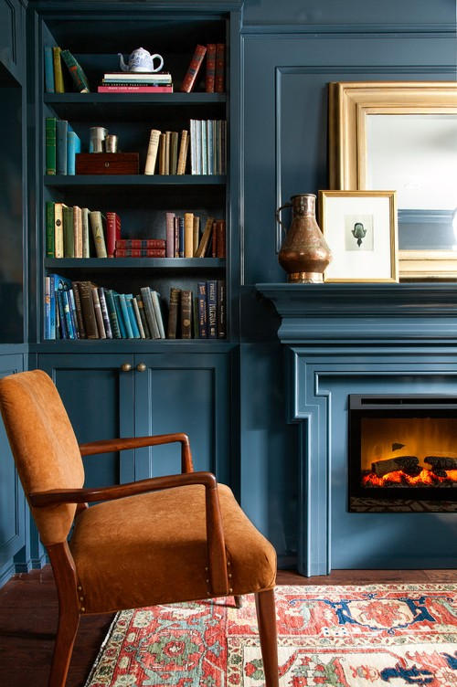 Warm and Cozy Blue Living Room with Fireplace