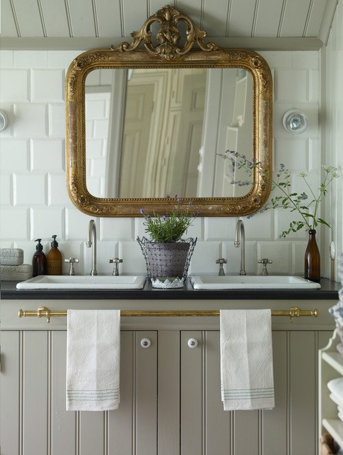 Large Gilded Mirror in Victorian Bathroom