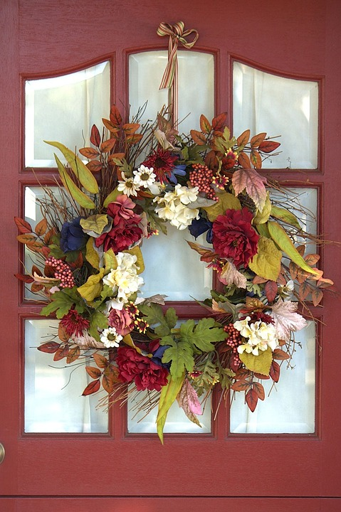 Pretty Fall Wreath on a Red Front Door