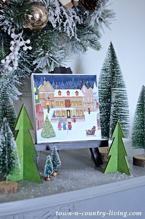 Christmas Canvas Print on an Easel and Displayed on a Mantel
