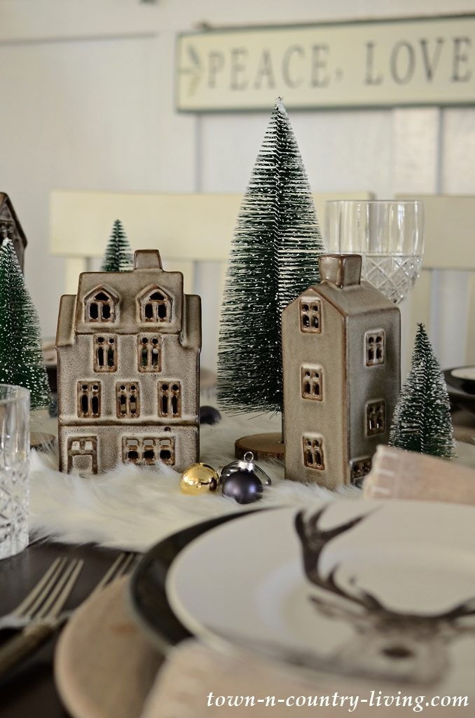 Ceramic Christmas House Village with Green Bottle Brush Trees