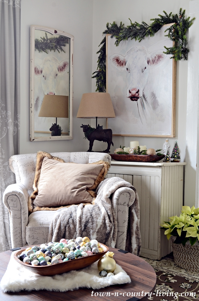 Christmas Home Tour - Living Room with Cow Painting