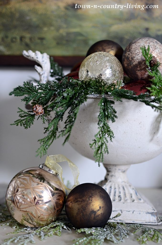 Reindeer Pedestal Bowl with Metallic Ornaments and Greens