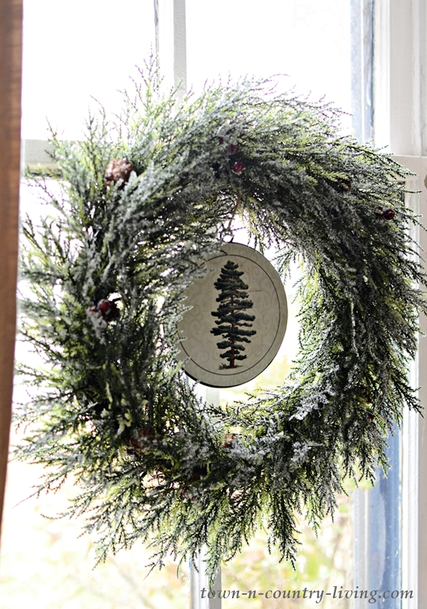 Christmas Wreath in an Old Window