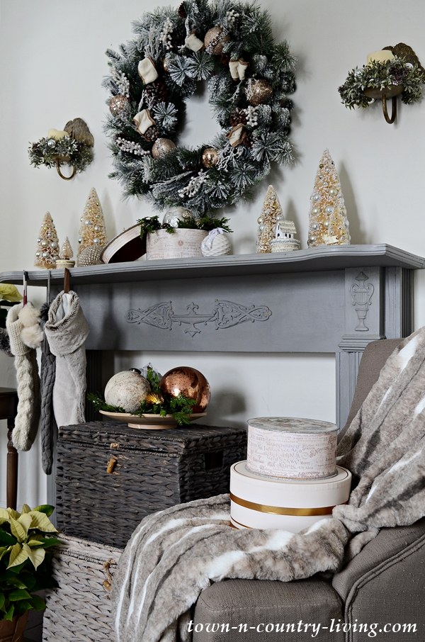 Country Christmas Mantel with Bottle Brush Trees and Faux Fur Stockings