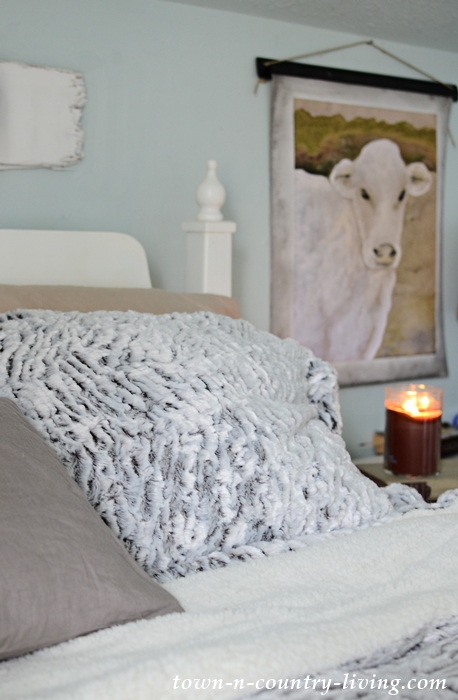 Cozy Farmhouse Bedroom with Faux Fur Bedding