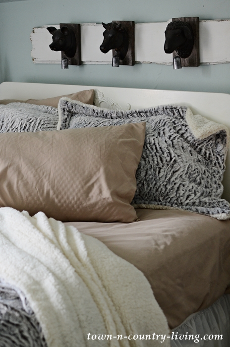 Create a Cozy Guest Bedroom with Cool Sheets and Faux Fur Bedding