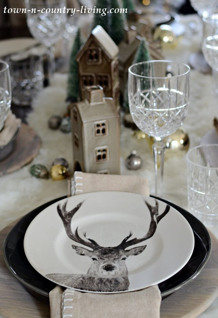 Modern Country Style Christmas Table Setting with Deer Plates