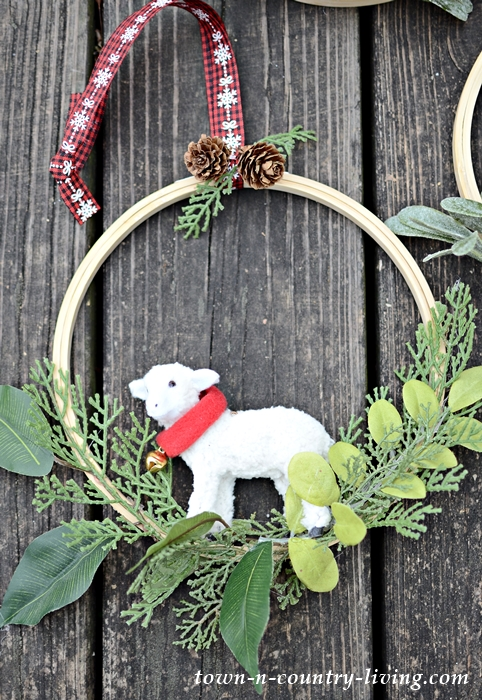 Little Lamb Embroidery Hoop Christmas Wreath
