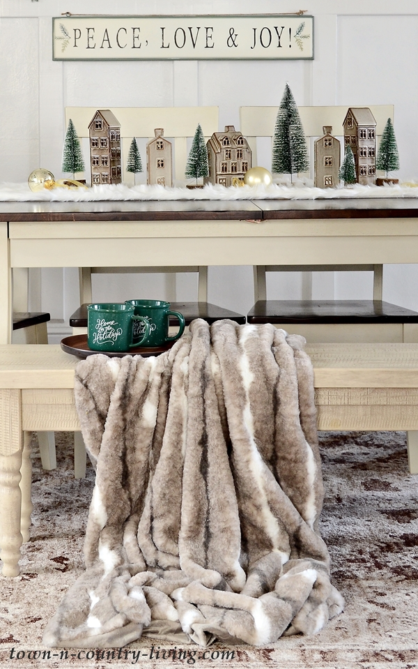 Brown and Gray Faux Fur Throw