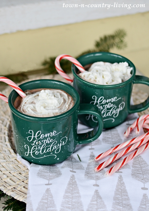 Green Holiday Mugs with Hot Chocolate and Peppermint Candy Cane