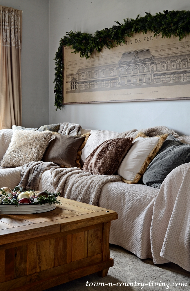 Faux Fur Pillows and Throws on Family Room Sectional