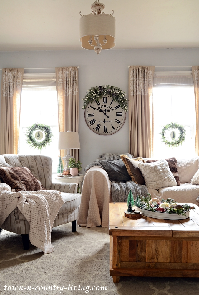 Faux Fur Pillows and Throws in Christmas Family Room
