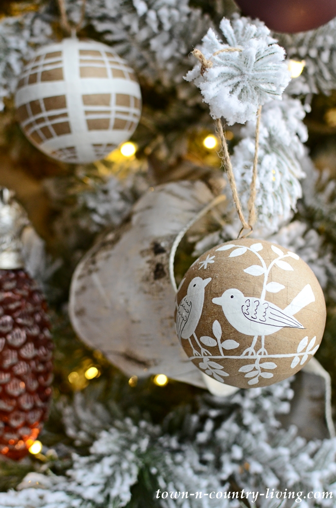 Brown and White Paper Mache Christmas Ornament
