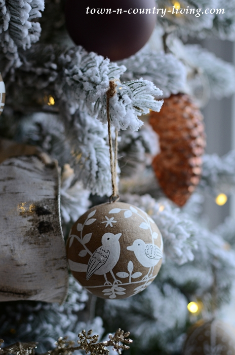 Neutral Christmas Tree with Paper Mache Ornaments