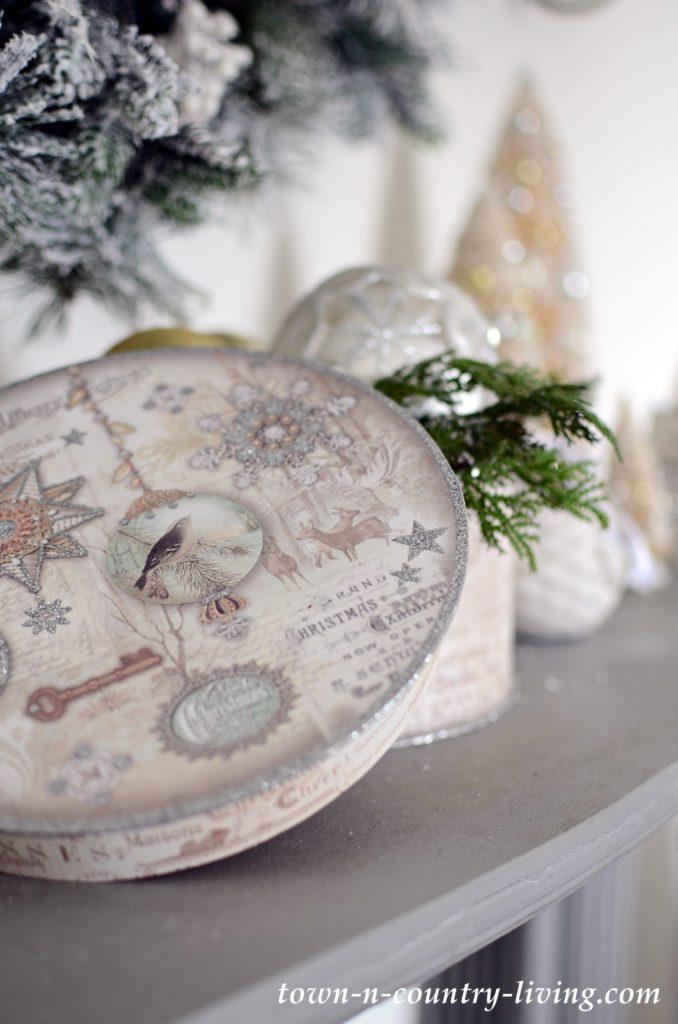 Vintage Christmas Vignette in Neutrals