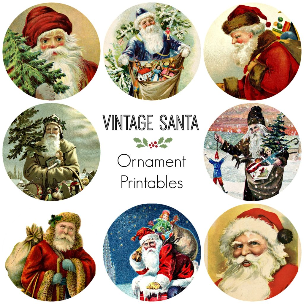 Vintage Santa Ornament Printables