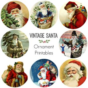 8 Vintage Santa Ornaments: Free Printable