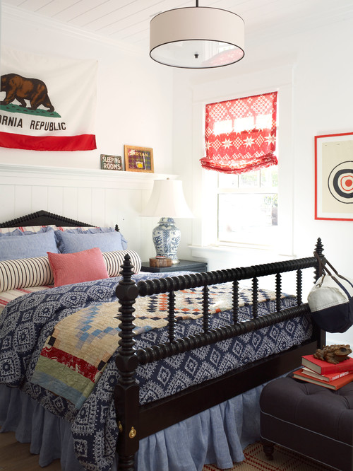 Red, White, and Blue Coastal Bedroom