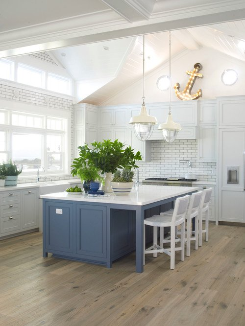 Beach Style Kitchen with Blue Island