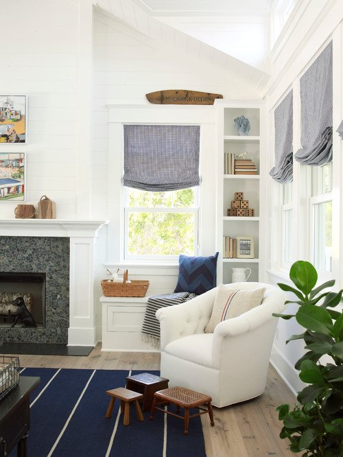 Blue and White Living Room in Beach Style Home