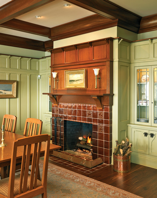 Craftsman Dining Room with Fireplace
