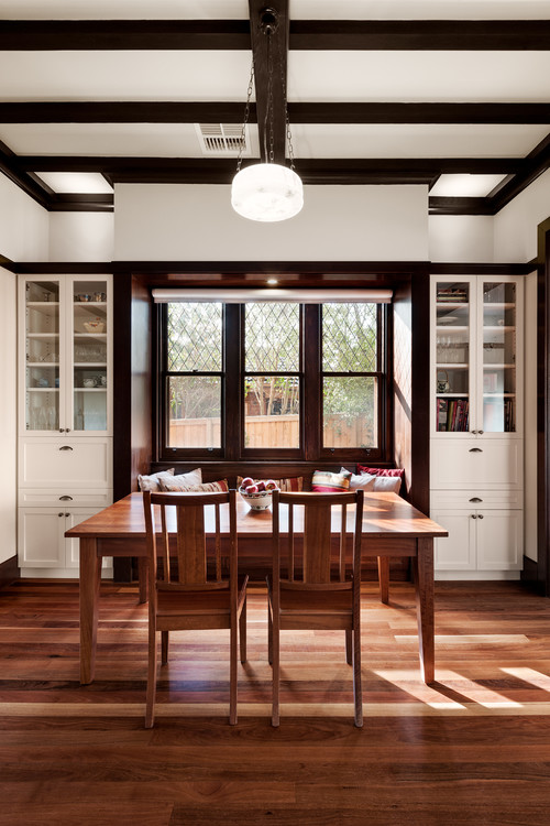 Cozy Dining Room in Wood and White