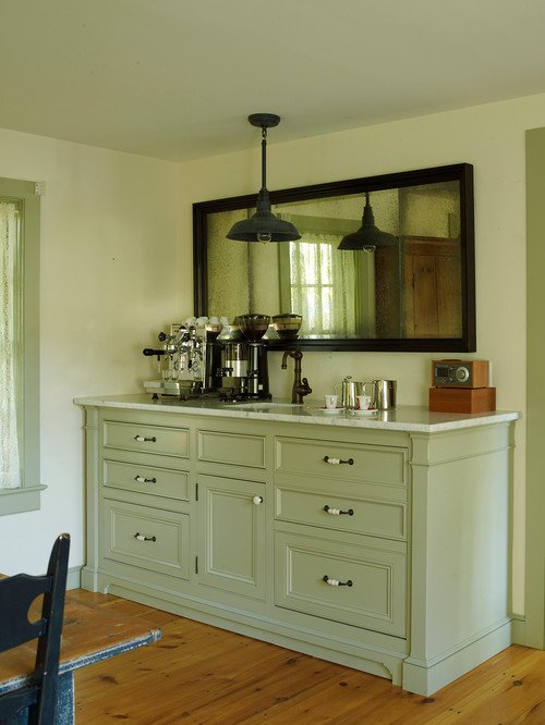 Built-in Dining Room Sideboard in Older Vintage Farmhouse