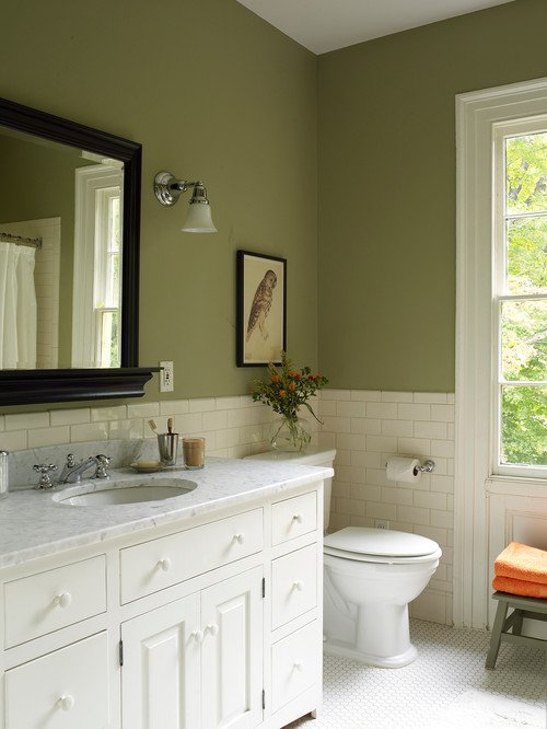 Farmhouse Bathroom in Sage Green and White