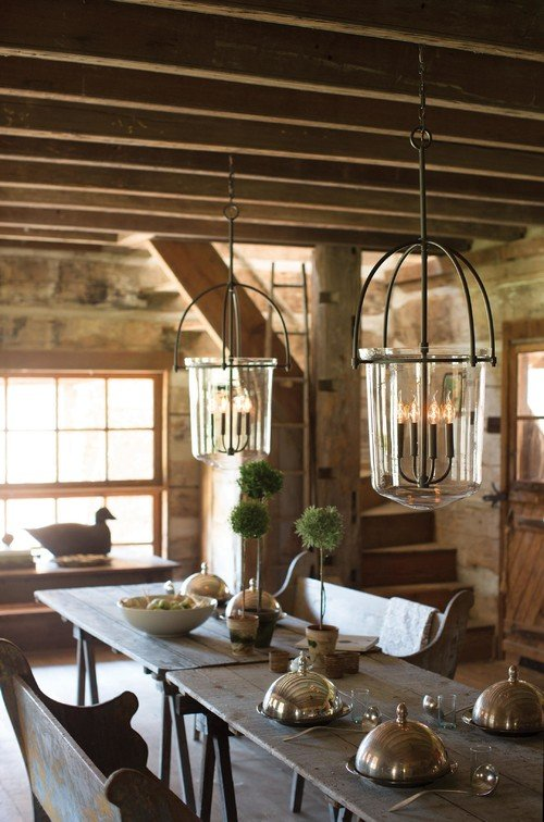 Rustic Farmhouse Dining Room with Textures