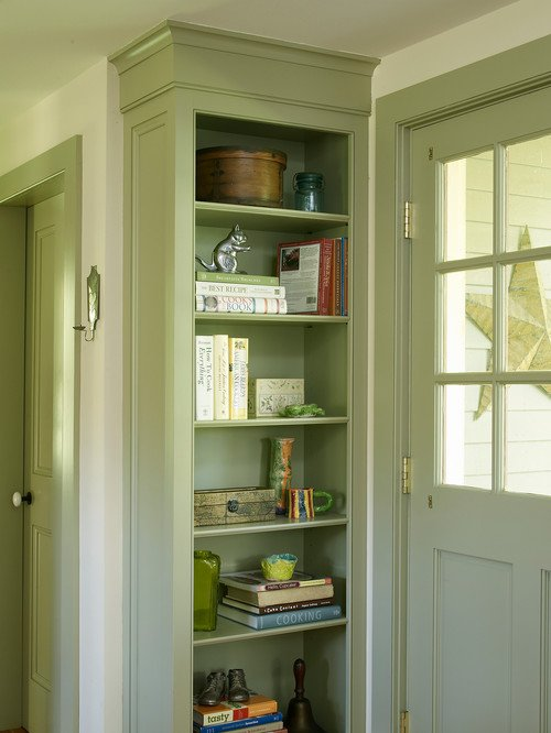 Farmhouse Entryway with Built-In Bookcase