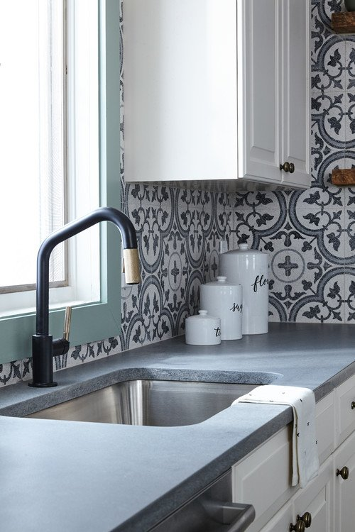 Patterned Tile Backsplash in Cottage Style Kitchen
