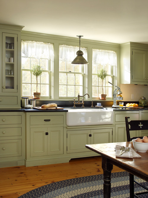 Vintage Farmhouse Kitchen with Trio of Mullioned Windows and Farmhouse Sink