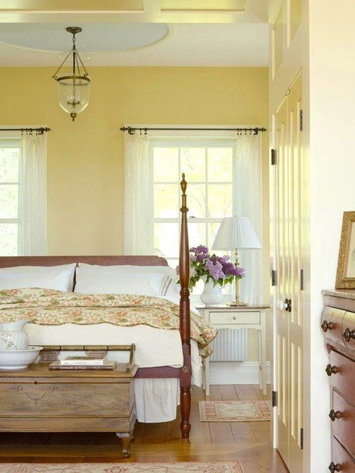Pale Yellow Traditional Bedroom