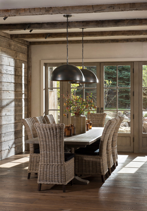 Summer Porch Dining Room with Wicker Chairs