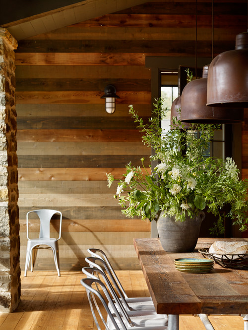 Rustic Dining Room with Wood Plank Walls